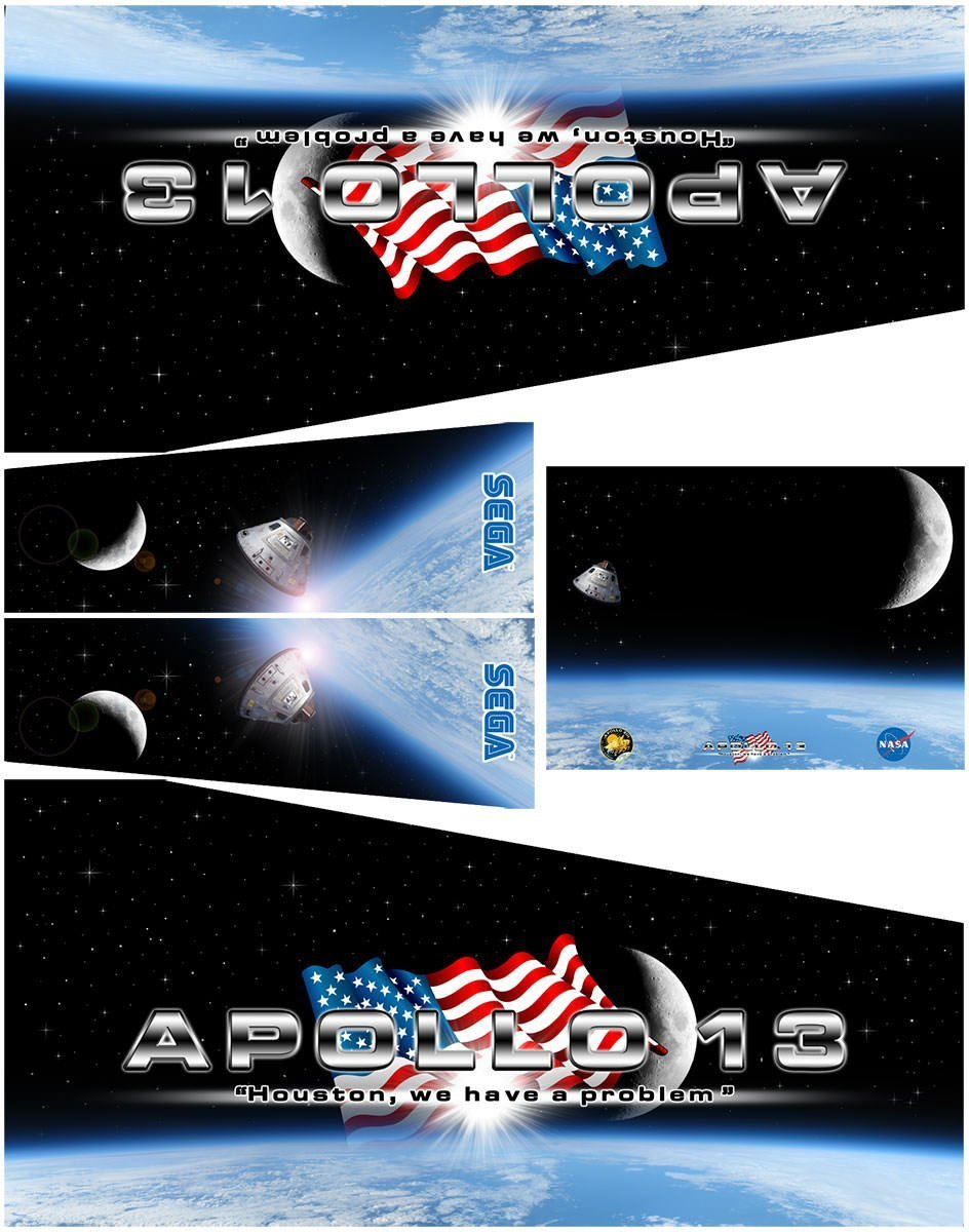 Apollo 13 Alternate Pinball Cabinet Decals Alternative Flipper Side Art