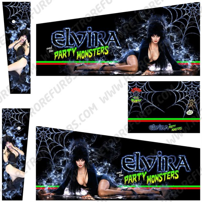 Elvira and the Party Monsters Pinball Cabinet Decals Flipper Side Art