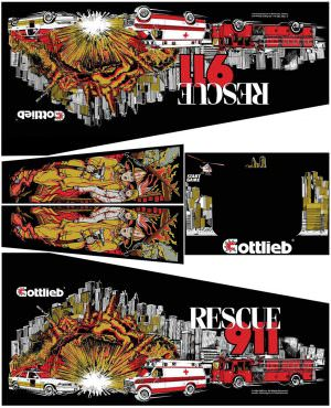 Rescue 911 Pinball Cabinet Decals Flipper Side Art