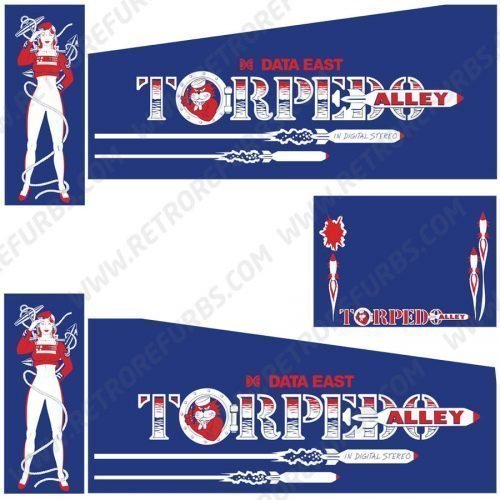 Torpedo Alley Pinball Cabinet Decals Flipper Side Art
