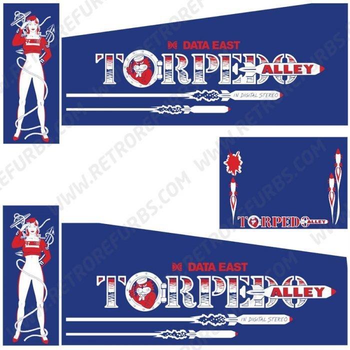 Torpedo Alley Pinball Cabinet Decals Flipper Side Art