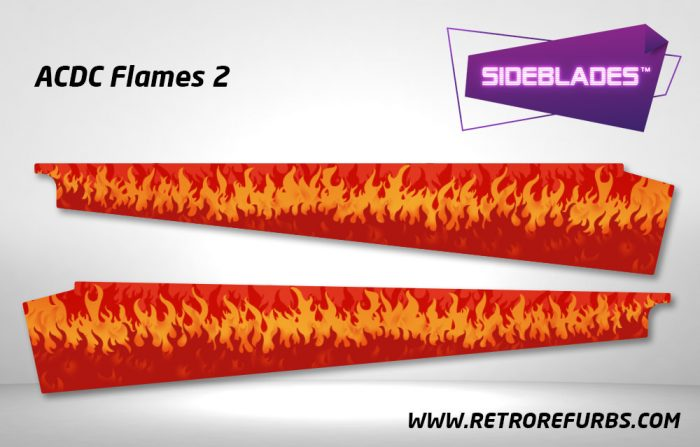 ACDC Flames 2 Pinball SideBlades Inside Decals Sideboard Art Pin Blades