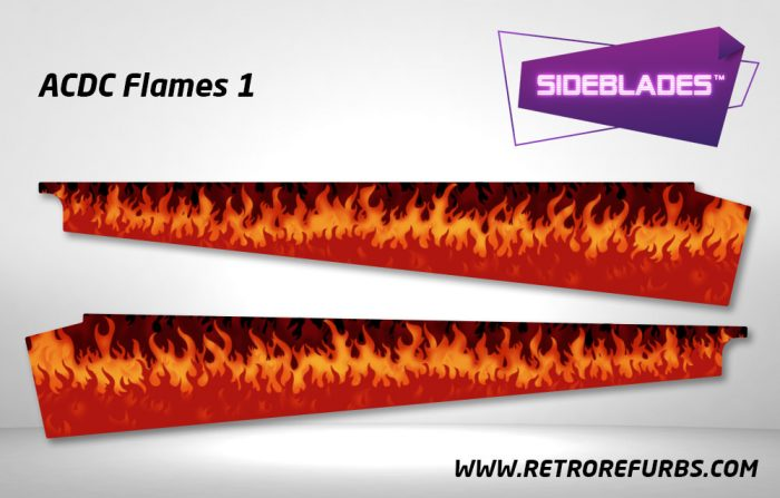 ACDC Flames 1 Pinball SideBlades Inside Decals Sideboard Art Pin Blades