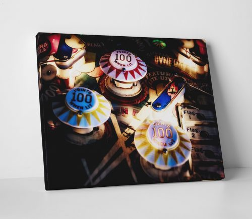 Vintage Pinball Pop Bumpers Canvas Print Game Room Decor Wall Art