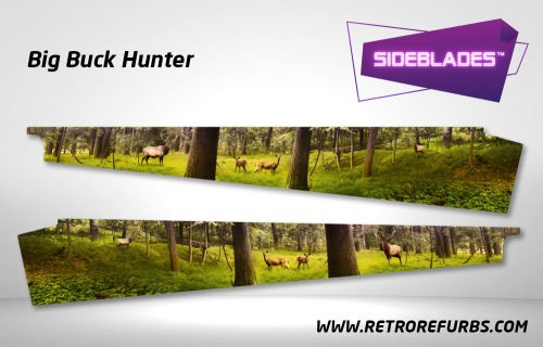 Big Buck Hunter Pinball SideBlades Inside Decals Sideboard Art Pin Blades