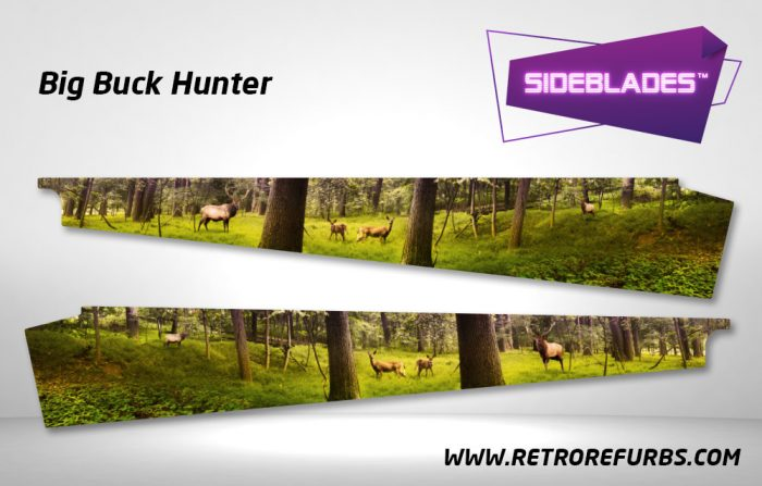 Big Buck Hunter Pinball SideBlades Inside Decals Sideboard Art Pin Blades