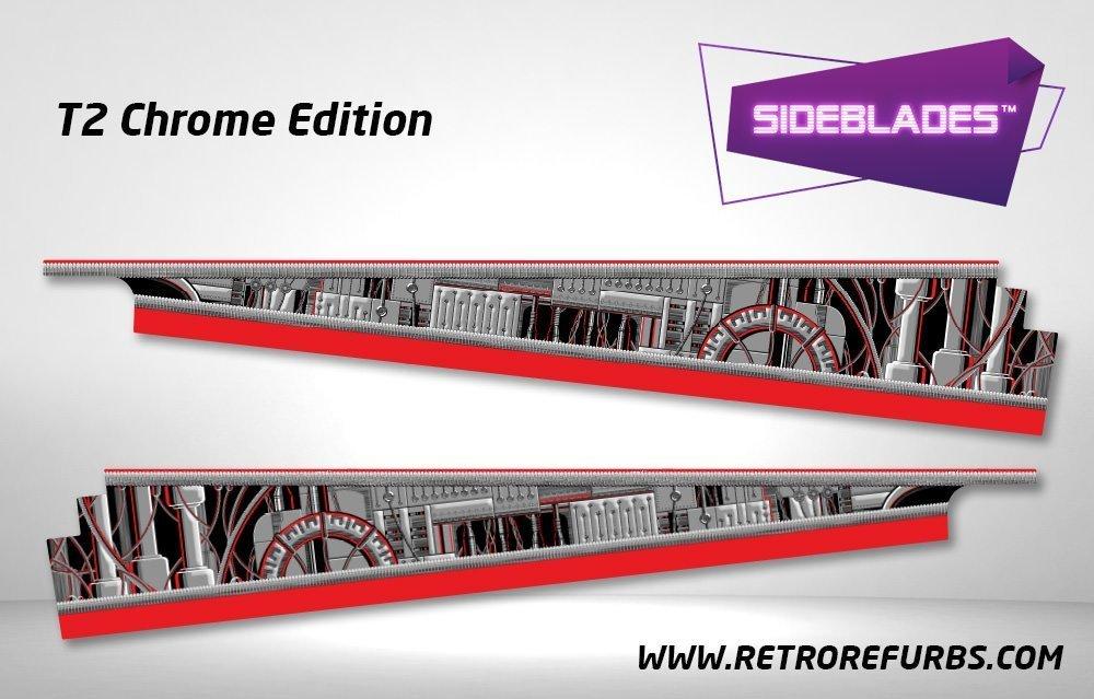 Terminator 2 Chrome Edition Pinball Sideblades Inside Decals Sideboard Art Pin Blades