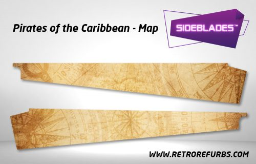 Pirates of The Caribbean Map Pinball Sideblades Inside Decals Sideboard Art Pin Blades