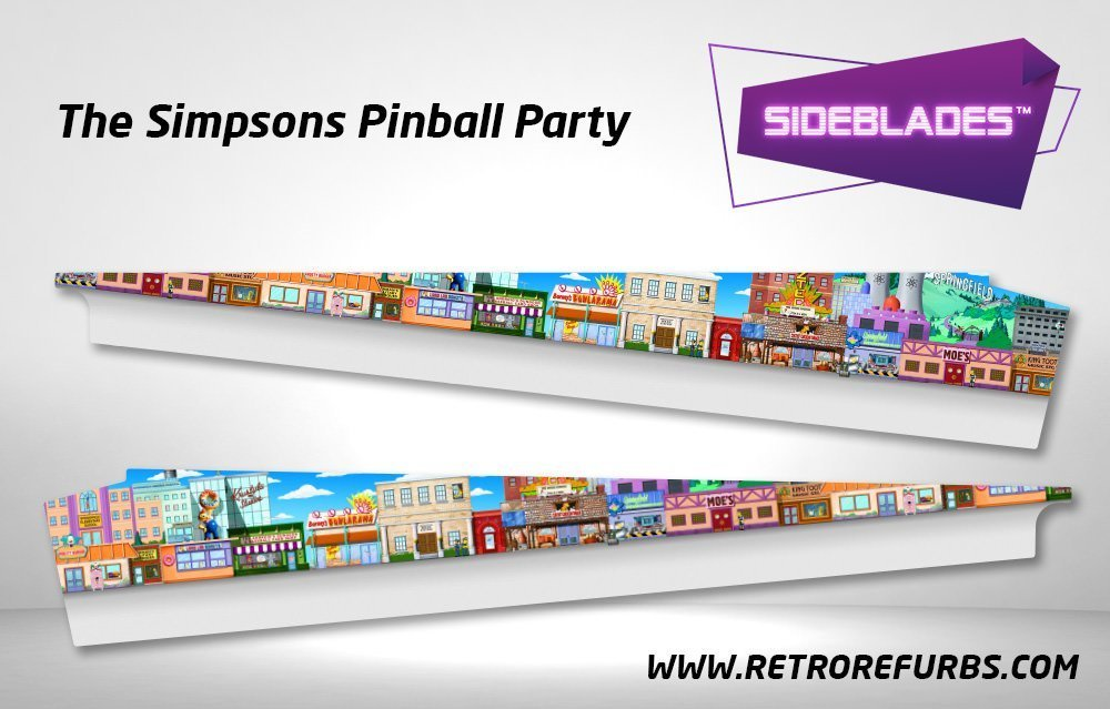 The Simpsons Pinball Party Pinball Sideblades Inside Decals Sideboard Art Pin Blades