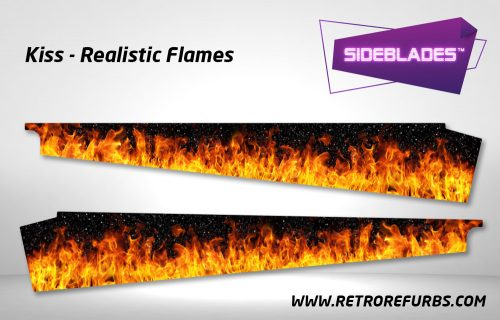 Kiss Realistic Flames Pinball Sideblades Inside Decals Sideboard Art Pin Blades