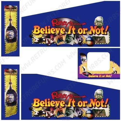 Ripley's Believe It or Not Pinball Cabinet Decals Flipper Side Art Stern