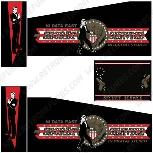 Secret Service Pinball Cabinet Decals Flipper Side Art