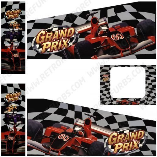 Grand Prix Pinball Cabinet Decals Flipper Side Art Stern