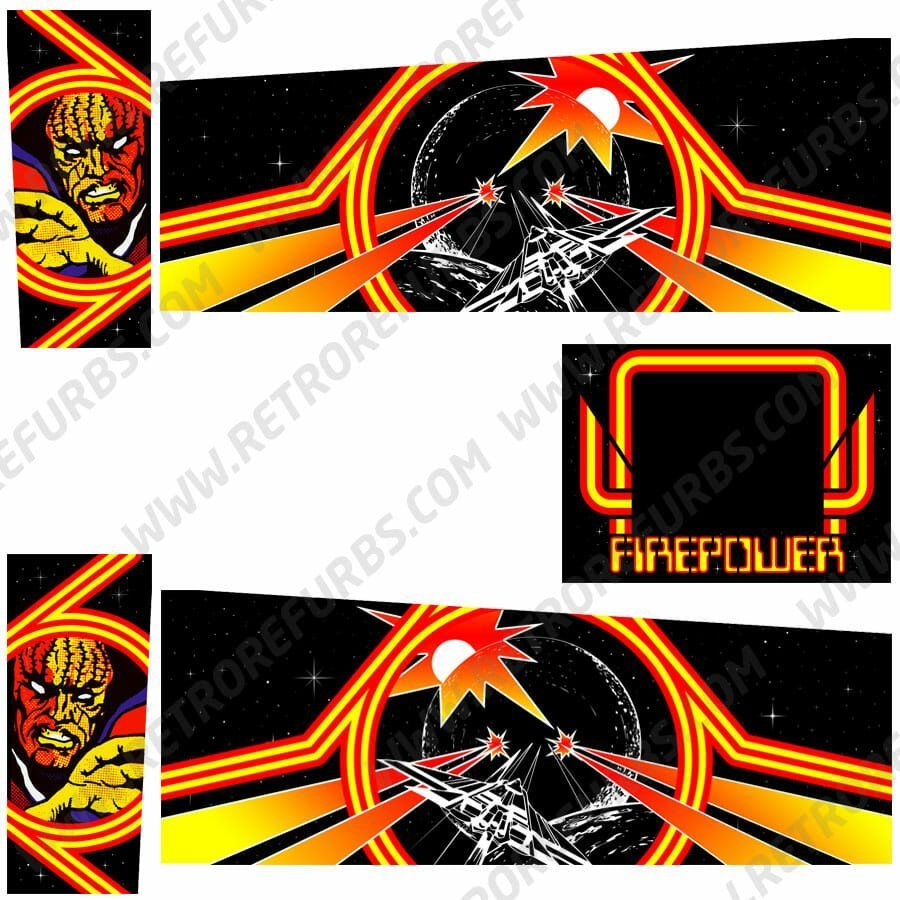 Firepower Custom Pinball Cabinet Decals Flipper Side Art Alternative