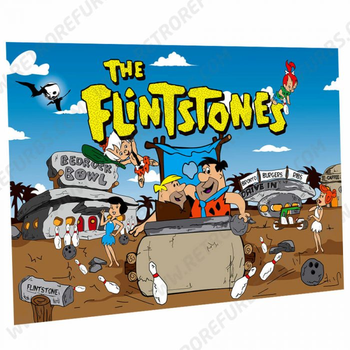 The Flintstones Cartoon Blue Sky Alternate Pinball Translite Alternative Flipper Backglass
