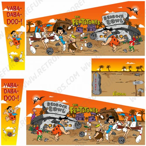 The Flintstones Cartoon Orange Sky Alternate Pinball Cabinet Decals Fliper Side Art