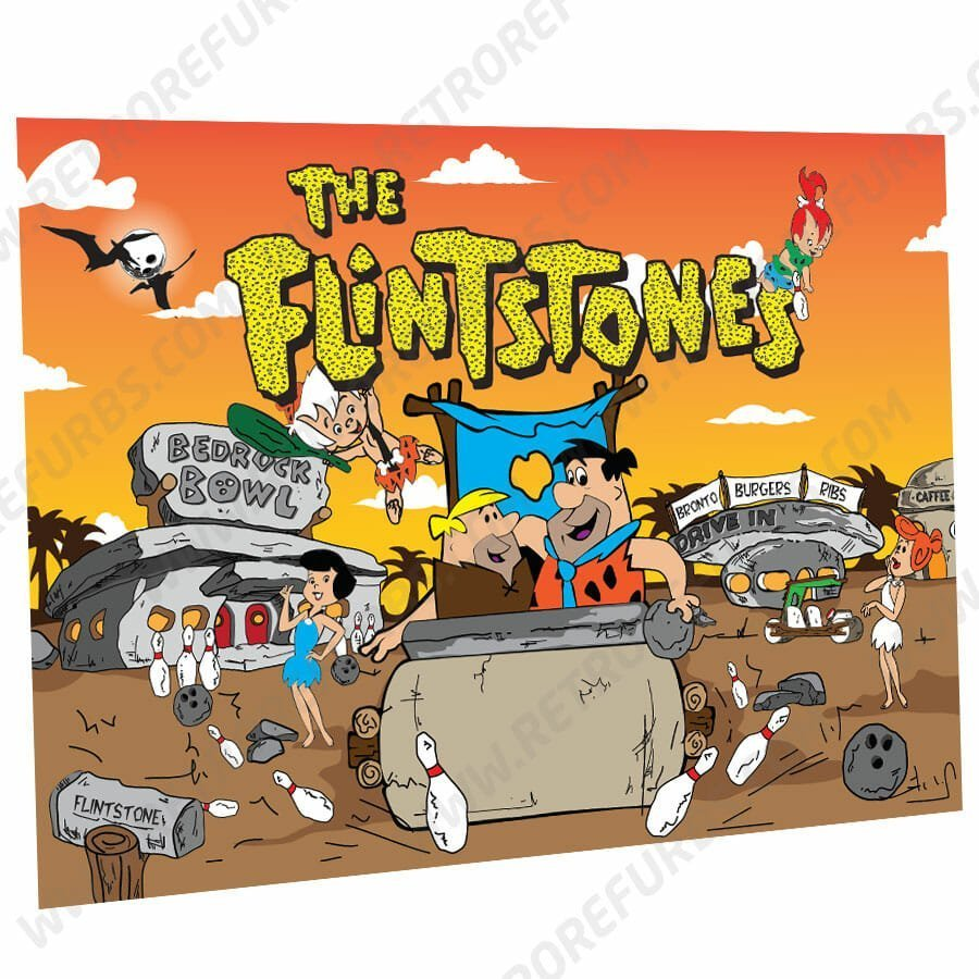 The Flintstones Cartoon Orange Sky Alternate Pinball Translite Alternative Flipper Backglass