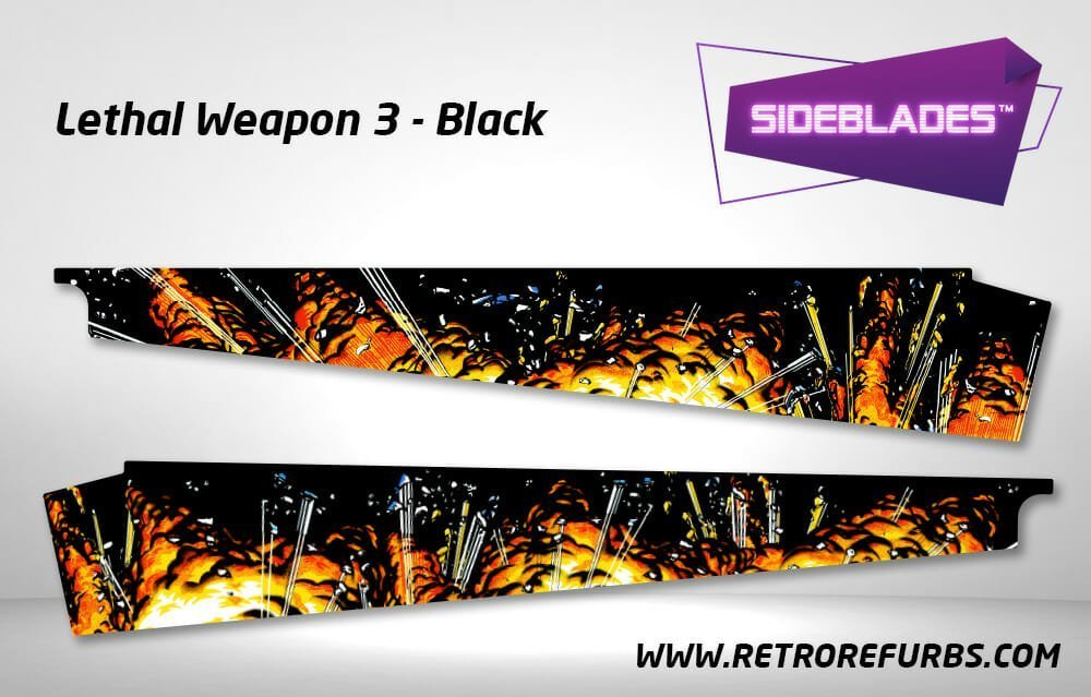 Lethal Weapon 3 Black Pinball SideBlades Inner Inside Art Pin Blades Data East