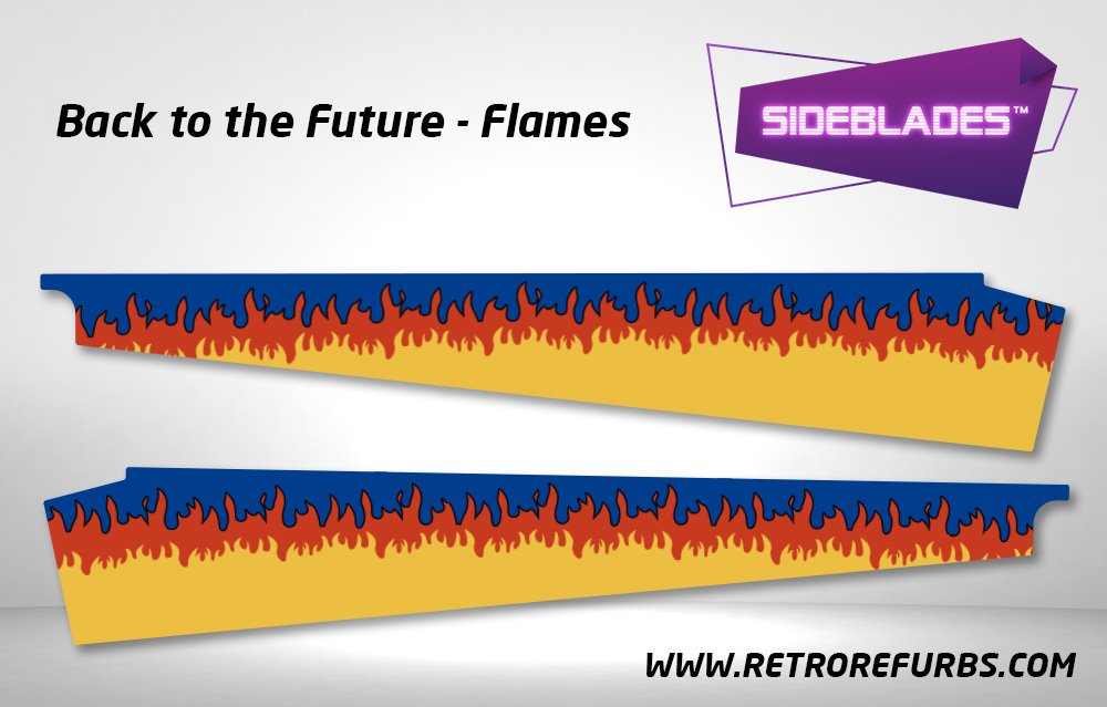 Back To The Future Flames SideBlades Inner Inside Art Pin Blades Data East