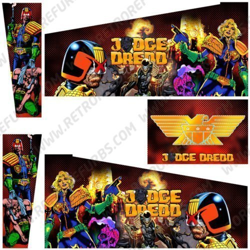Judge Dredd Red Pinball Cabinet Decals Alternate Artwork Alternative Flipper Comic Side Art