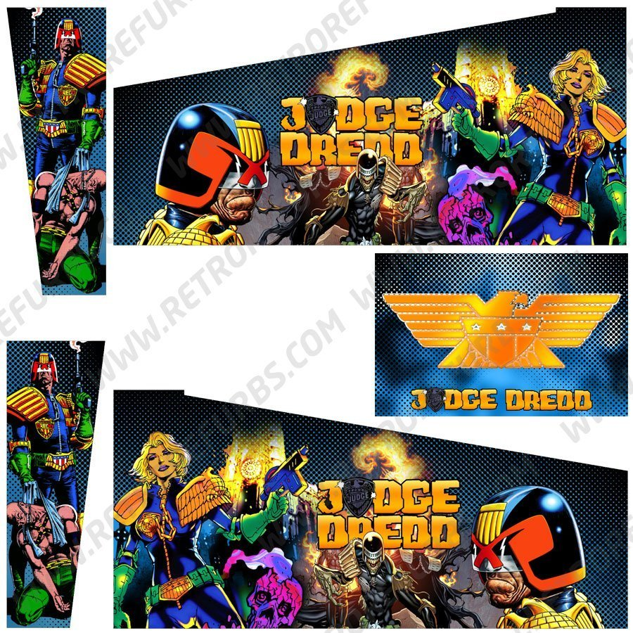 Judge Dredd Blue Pinball Cabinet Decals Alternate Artwork Alternative Flipper Comic Side Art
