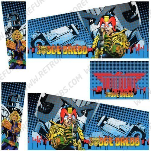 Judge Dredd Blue Two Comics Pinball Cabinet Decals Alternate Artwork Alternative Flipper Comic Side Art