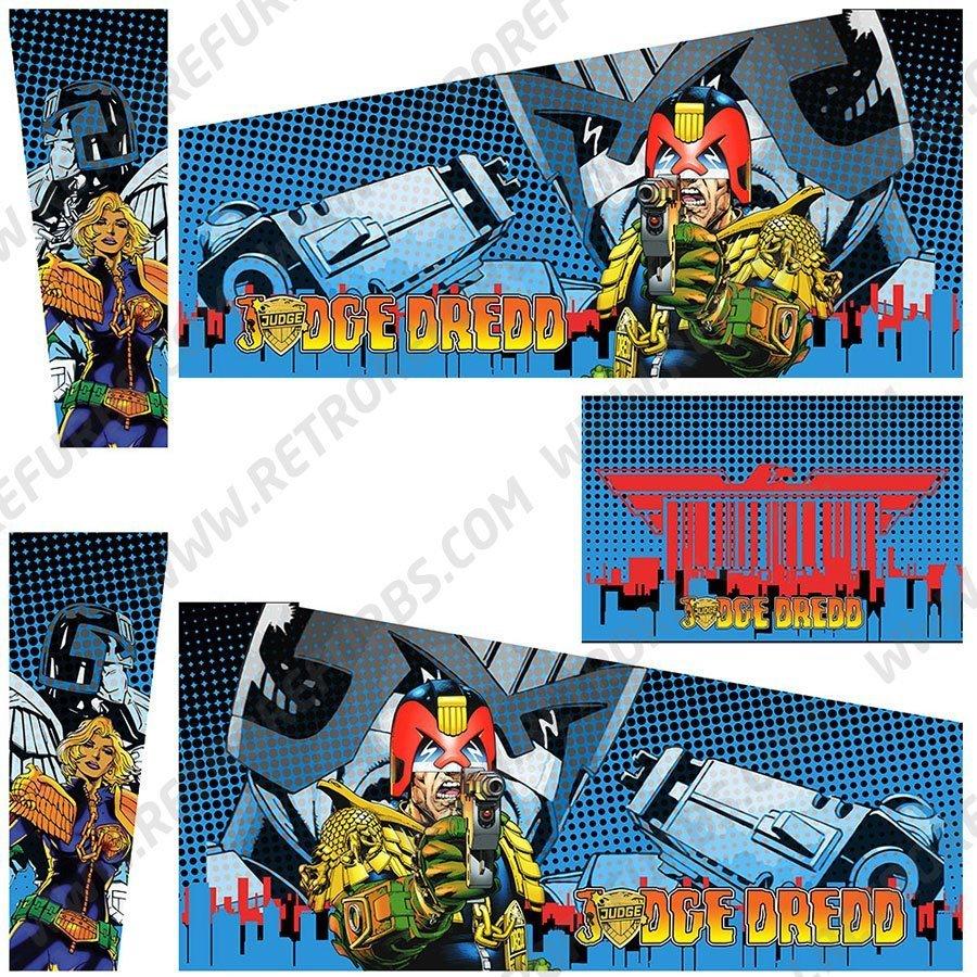 Judge Dredd Blue Two Comics Pinball Cabinet Decals Alternate Artwork Alternative Flipper Comic Side Art