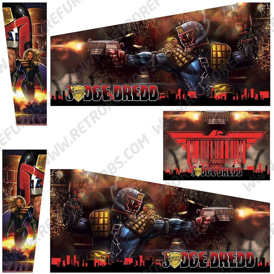 Judge Dredd Red Two Comics Pinball Cabinet Decals Alternate Artwork Alternative Flipper Comic Side Art