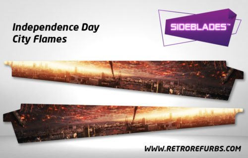 Independence Day City Flames Pinball SideBlades Inner Inside Art Pin Blades Sega