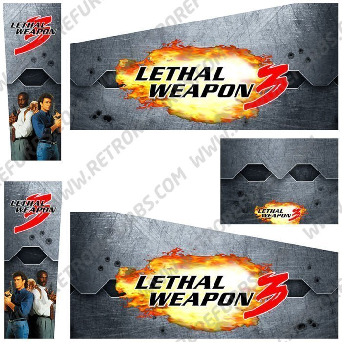 Lethal Weapon 3 Alternate Pinball Cabinet Decals Artwork Alternative Flipper Side Art
