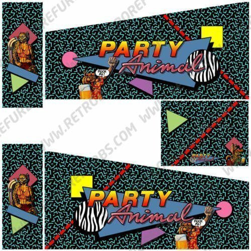 Party Animal Alternate Pinball Cabinet Decals Artwork Alternative Flipper Side Art