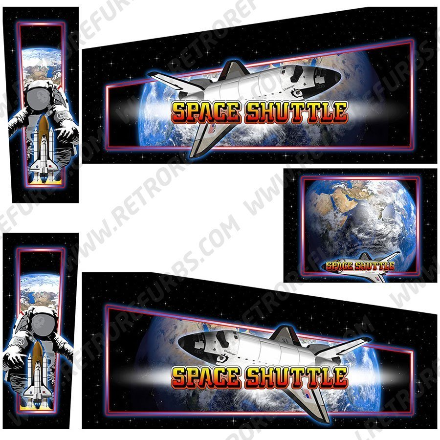 Space Shuttle Alternate Pinball Cabinet Decals Artwork Alternative Flipper Side Art