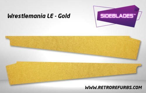 Wrestlemania LE Gold Pinball SideBlades Inside Decals Sideboard Art Pin Blades