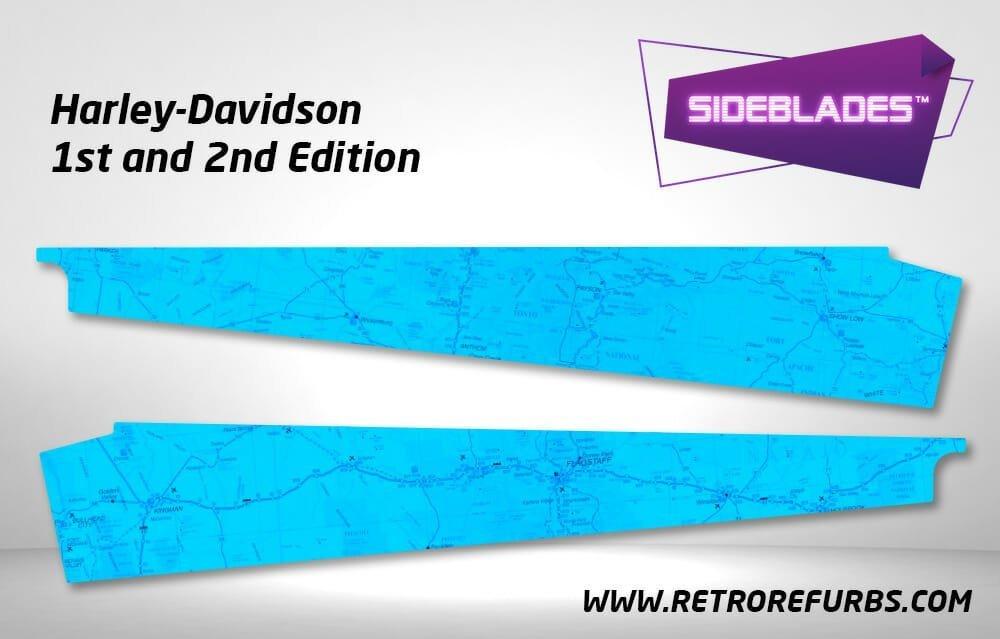 Harley Davidson 1st & 2nd Edition Pinball SideBlades Inner Inside Art Pin Blades Sega