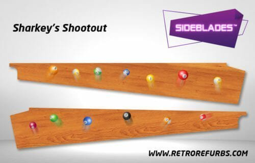 Sharkey's Shootout Pinball SideBlades Inside Decals Sideboard Art Pin Blades Stern Artwork