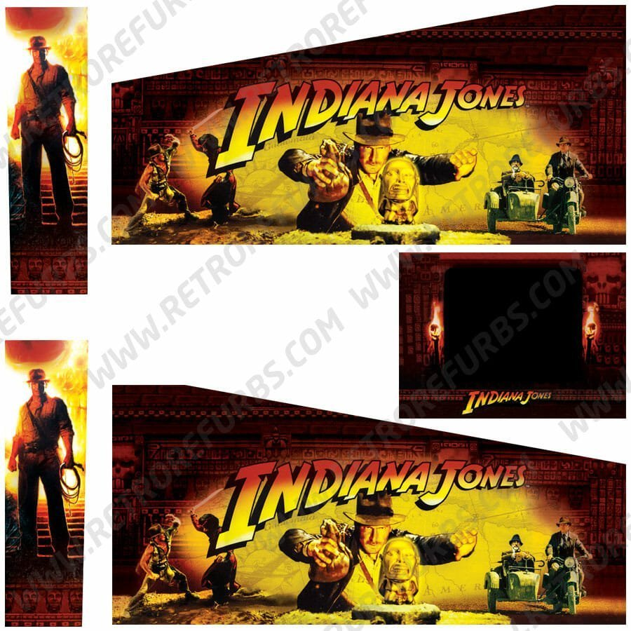 Indiana Jones Stern Pinball Cabinet Decals Flipper Side Art