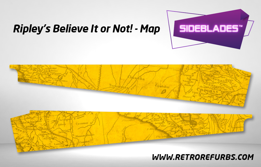 Ripley's Believe It Or Not Map Pinball SideBlades Inside Decals Sideboard Art Pin Blades Stern Artwork
