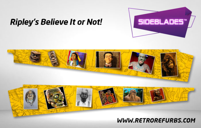 Ripley's Believe It Or Not Pinball SideBlades Inside Decals Sideboard Art Pin Blades Stern Artwork
