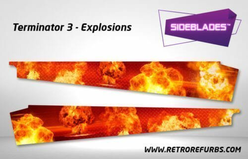 Terminator 3 Explosions Pinball SideBlades Inside Decals Sideboard Art Pin Blades Stern Artwork