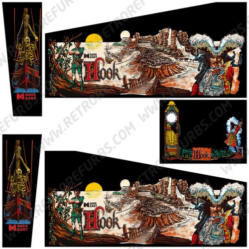 Hook Black Edition Data East Pinball Cabinet Decals Flipper Side Art