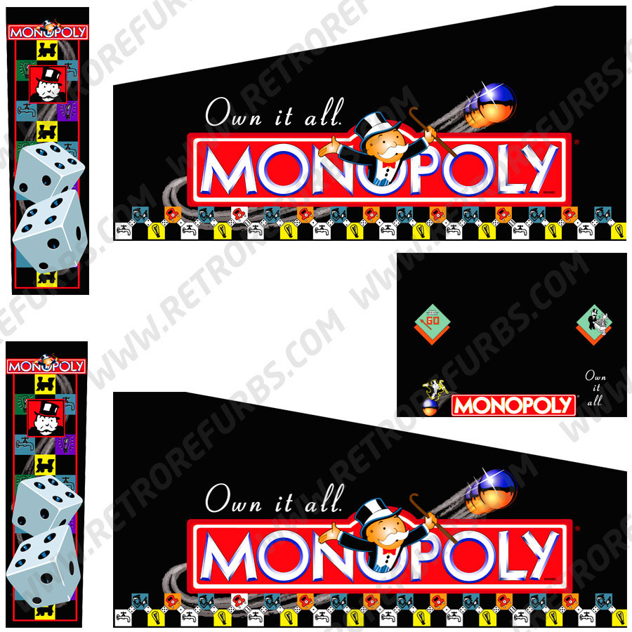 Monopoly Pinball Cabinet Decals Flipper Side Art Stern