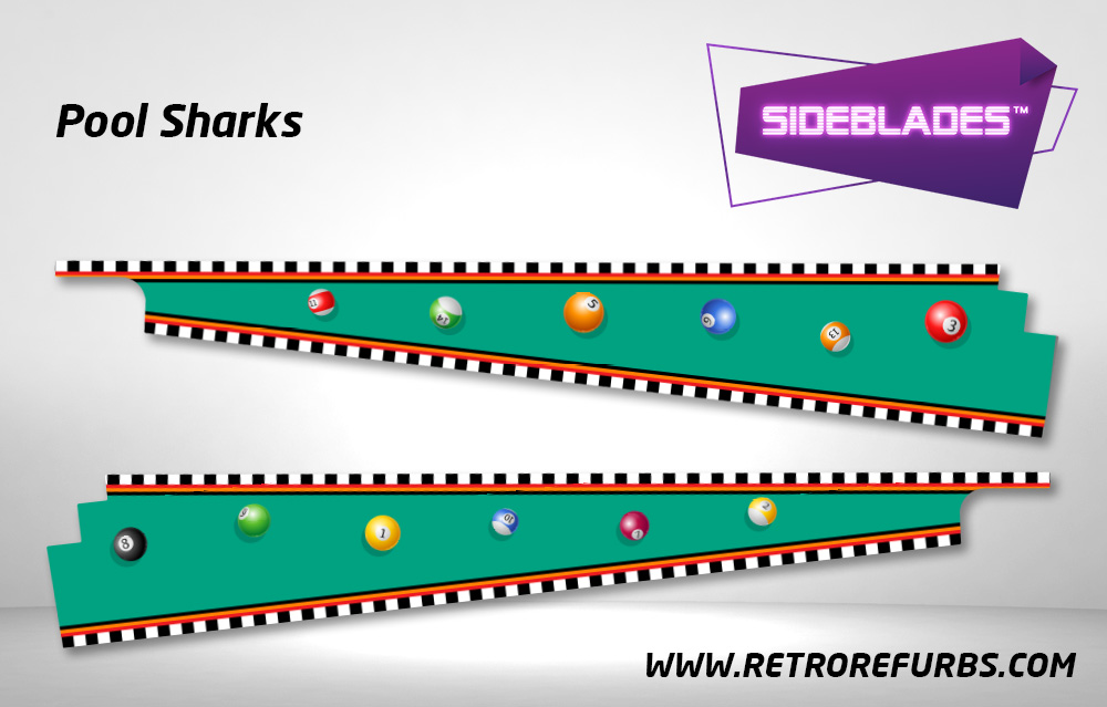 Pool Sharks Pinball SideBlades Inside Decals Sideboard Art Pin Blades