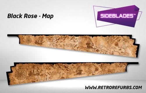 Black Rose Map Pirates Pinball SideBlades Inside Decals Sideboard Art Pin Blades