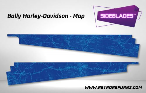 Harley Davidson (1991) Map Pinball SideBlades Inside Decals Sideboard Art Pin Blades