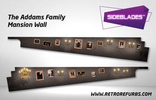 The Addams Family Mansion Wall Pinball SideBlades Inside Decals Sideboard Art Pin Blades