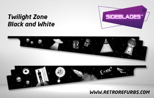 Twilight Zone Black & White Pinball SideBlades Inside Decals Sideboard Art Pin Blades
