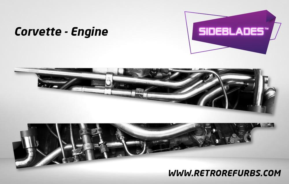 Corvette Engine Pinball SideBlades Inside Decals Sideboard Art Pin Blades