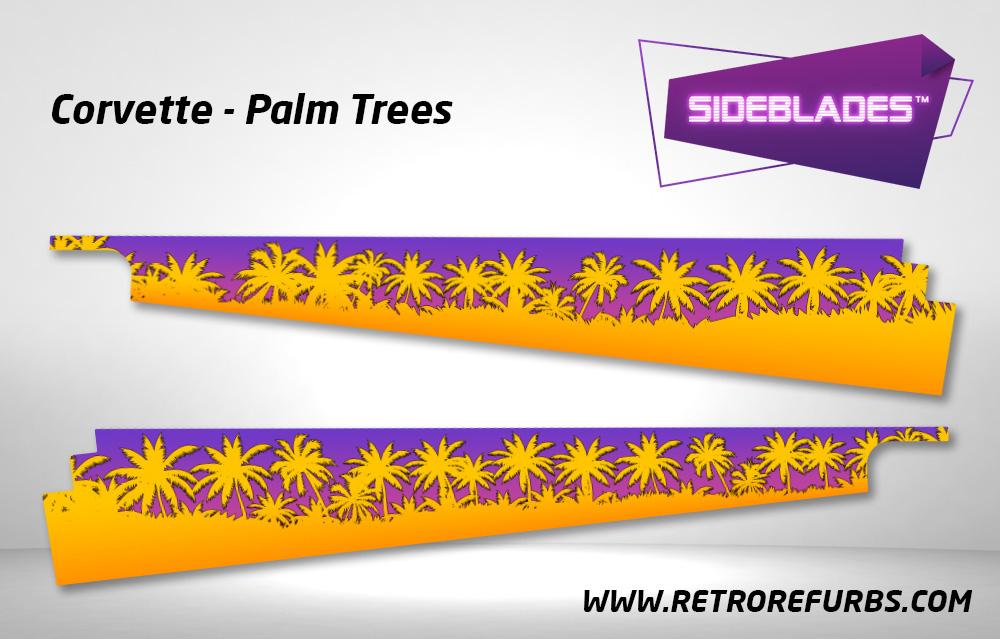 Corvette Palm Trees Pinball SideBlades Inside Decals Sideboard Art Pin Blades