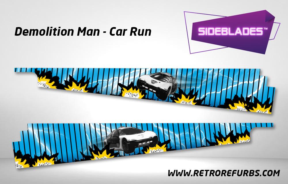 Demolition Man Car Run Pinball SideBlades Inside Decals Sideboard Art Pin Blades