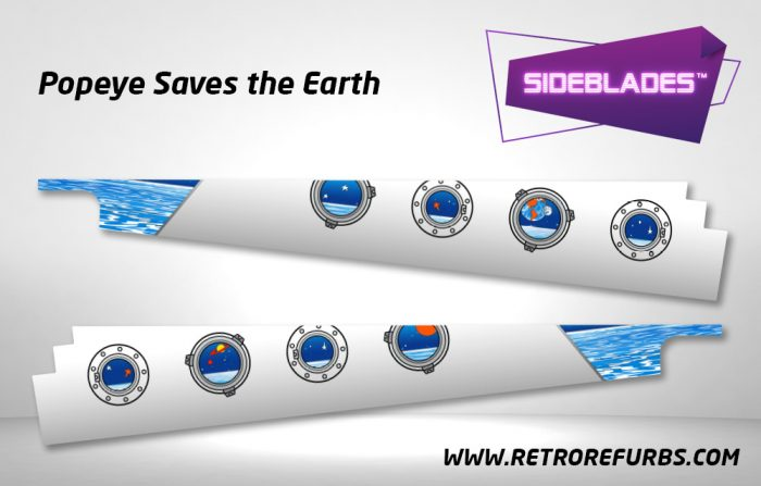 Popeye Saves The Earth Pinball SideBlades Inside Decals Sideboard Art Pin Blades